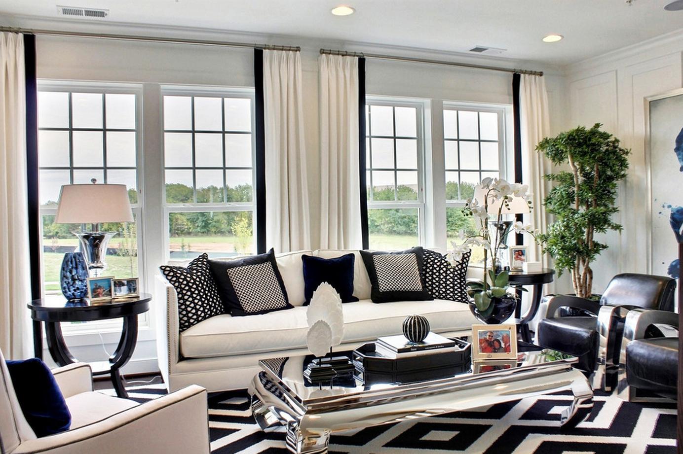 Пол с контрастным графическим рисунком, который может повторять рисунок или узоры обоев, обивки мебели или штор.