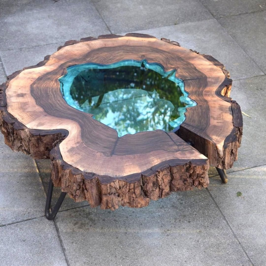 Resin poured wood table.
