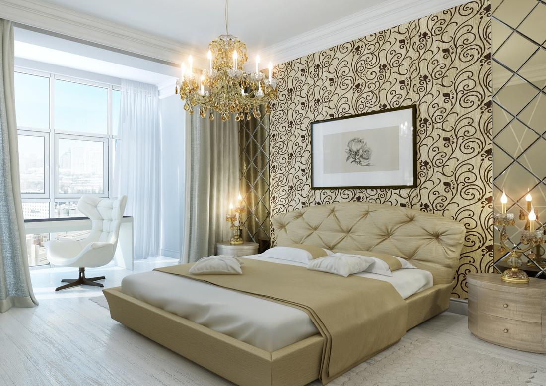 Спальная комната в стиле неоклассика.