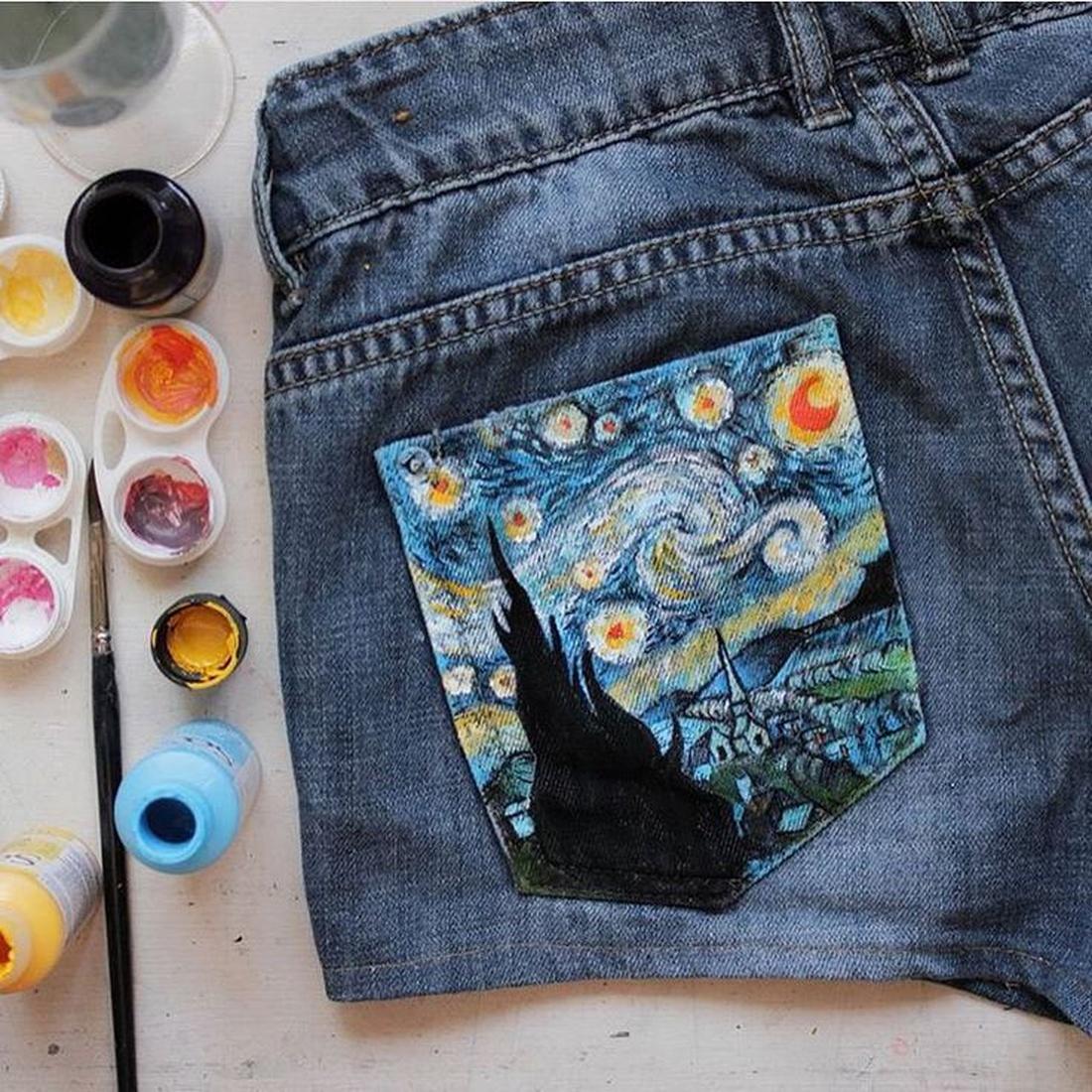 Рисунок на ткани. Джинс