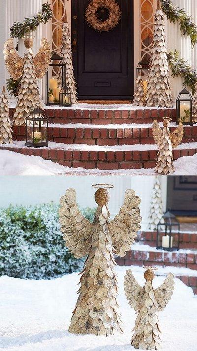 Фигурки елей и ангелов из дерева