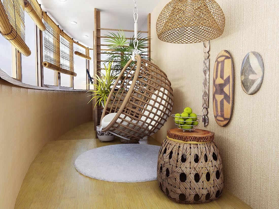 Используйте материалы, напоминающие природные: ламинат и плитку для пола, ротанг и плетение из лозы, шторы из бамбука.