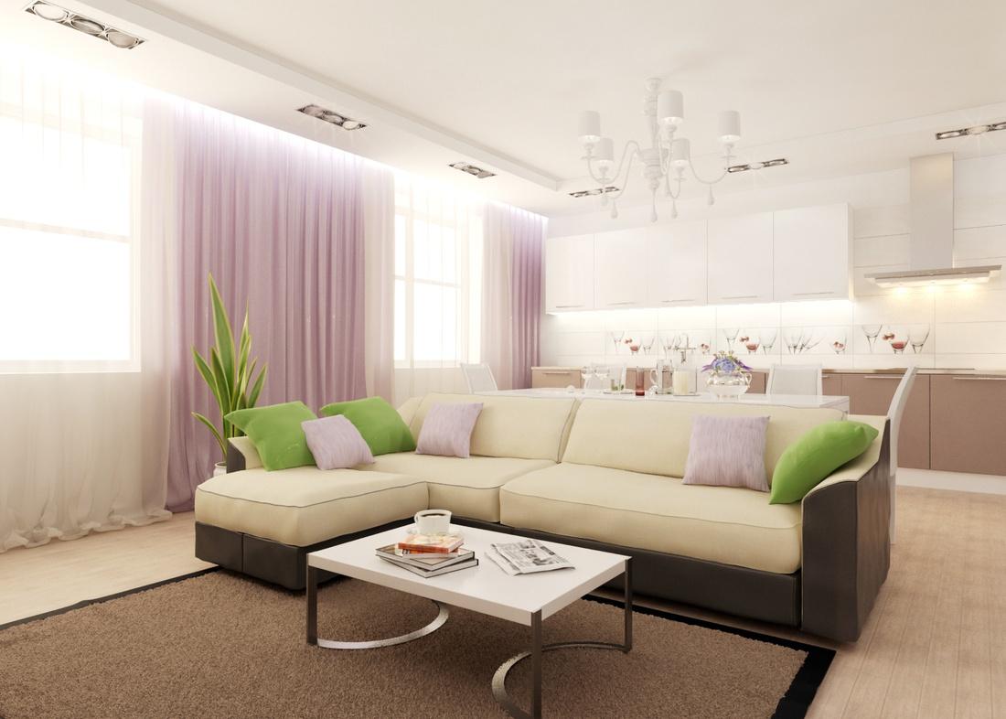 Объединение достигается единым стилем в дизайне интерьера, эффект от этого совмещения придает больше свободного пространства, уюта и индивидуальности.