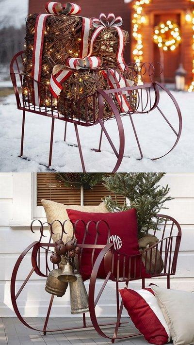 Декоративные сани для зимнего сада