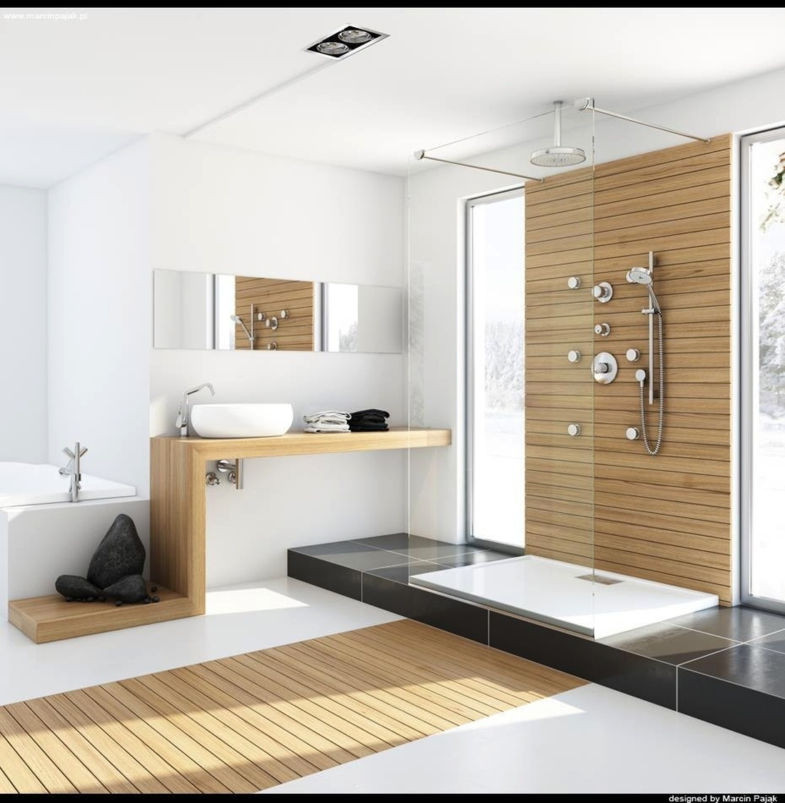 Стиль минимализм актуален для ванной.