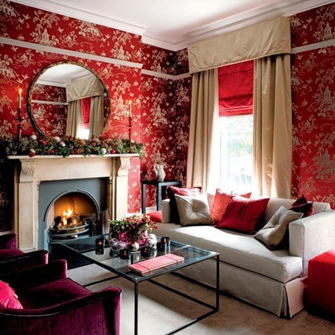 Индийский стиль гостиной-это натуральный шелк на стенах или обои, имитирующие его.