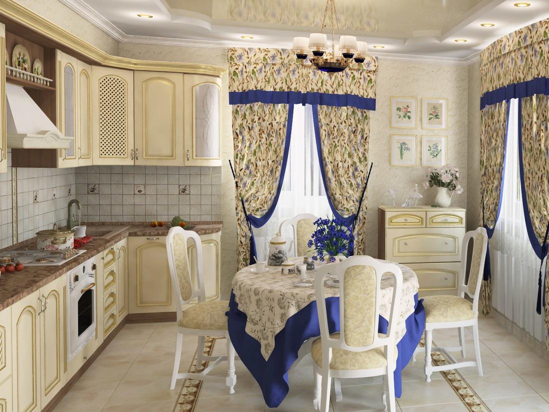Часто занавески и скатерти имеют декор в виде контрастной бейки или вышивки.