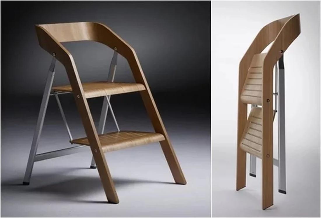 Стильный стул-стремянка с деревянными элементами