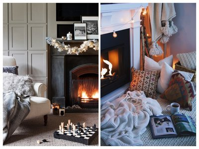 Christmas fireplace decorations