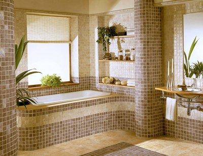Мозаика в ванной комнате.