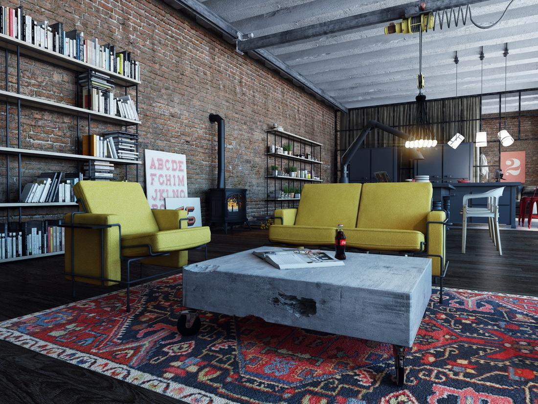 Мягкая мебель Traffic, Magis,, дополняет эту композицию бетонный столик, большой ковер и торшер Diesel Fork.