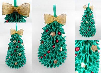 новогодняя елка в технике канзаши