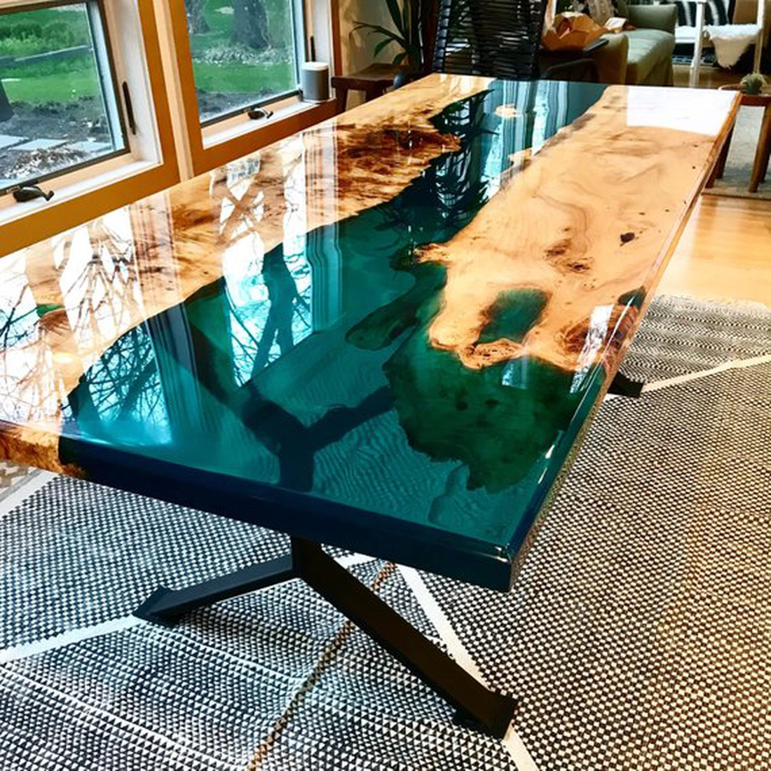Resin poured wood table