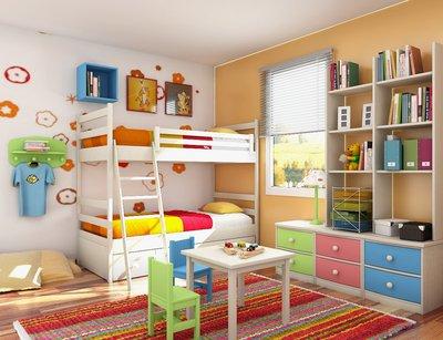 Детскую наполняют шкаф, кровать, стол и стулья, часто здесь устанавливают спортивный уголок.