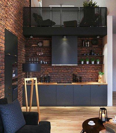 Черная кухня с кирпичной стеной