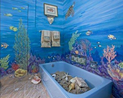 Оформление ванной акриловыми и масляными красками.