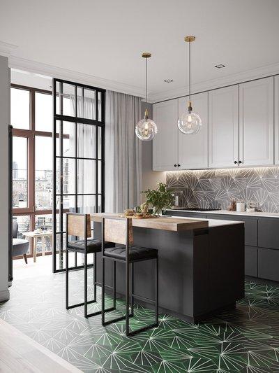 Плитка с графическим рисунком придает дизайну кухни динамику.
