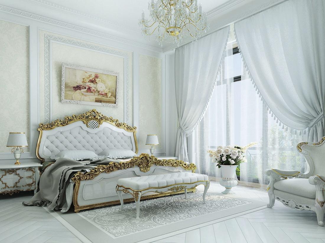 Идеальным цветом для спальни в классическом стиле всегда будет белый.