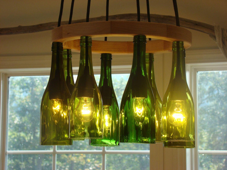 Светильник из стеклянной бутылки своими руками фото